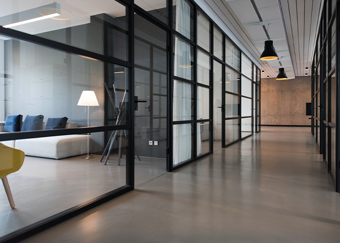 Agora Office Space - Modern hallway with glass