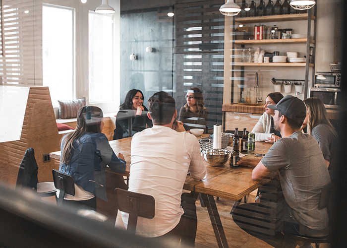 Agora Office Space - Stock Image - Young professionals meeting