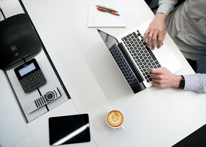 Stock image - computer business desk