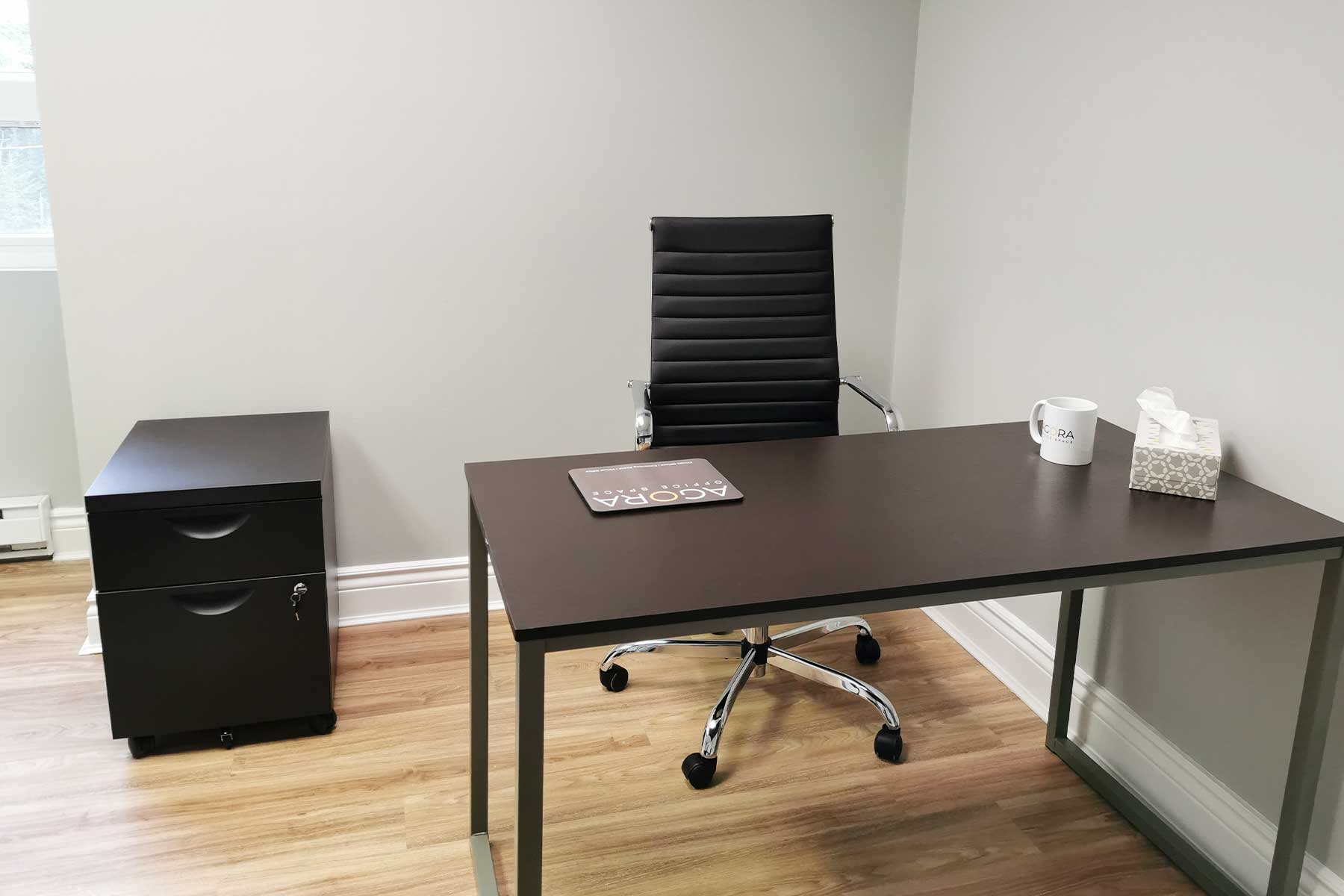 Agora Office Space - Brown desk with Black leather chair