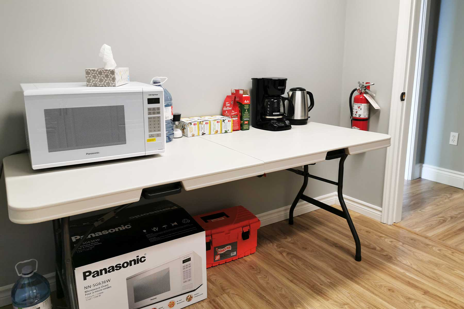 Kitchen - Agora Office Space -Microwave, kettle coffee maker